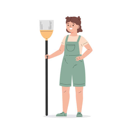 Young girl dressed in overalls with a broom. The girl helps with the household. Child cleaning. Flat vector cartoon illustration isolated on white background Ilustração
