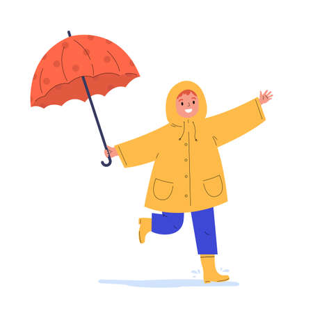 The child runs in the rain. Happy kid in a yellow raincoat under umbrella during rain. Flat vector cartoon illustration isolated on white background.