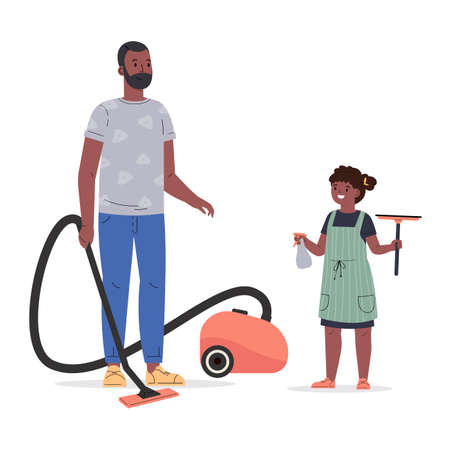 Concept of a happy family, housekeeping, child, parent. Young man with his daughter vacuum and wash windows, clean up. Flat vector cartoon illustration isolated on white background
