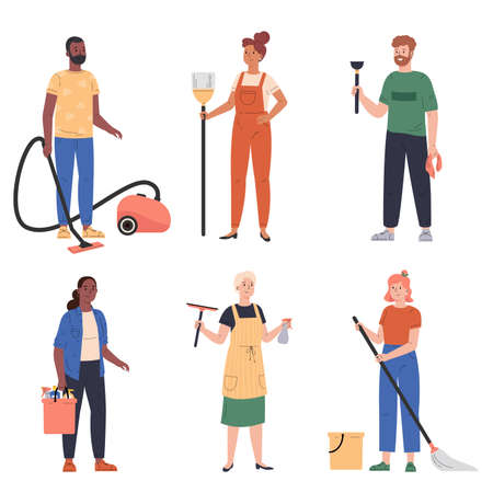 People cleaning. Housework cleaning, men and women doing chores. Washing floor and vacuuming housekeeping characters. People with buckets and mop,broom,wiper,plunger. Vector flat illustration