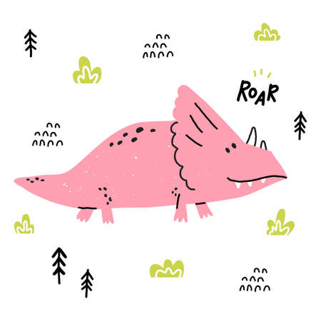 Hand drawn dinosaur. Triceratops in cartoon scandinavian style. Cute baby animal. Dino with plants and doodles. Vector flat style children illustration. Ilustração