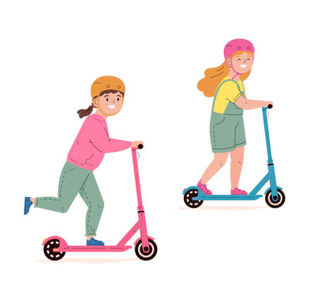 Happy children in helmets ride electric walk scooters. Modern child characters driving eco urban transport. Kids learn to ride scooter. Flat vector illustration isolated on white background.