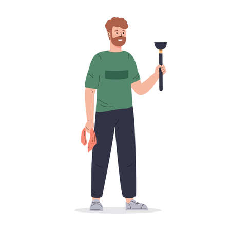 Young man with a plunger and a rag. Regular household working. Housekeeping activity. Flat vector cartoon illustration isolated on white background