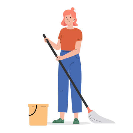 Young woman with a mop and a bucket. The girl helps with the household. Woman cleaning. Flat vector cartoon illustration isolated on white background Иллюстрация