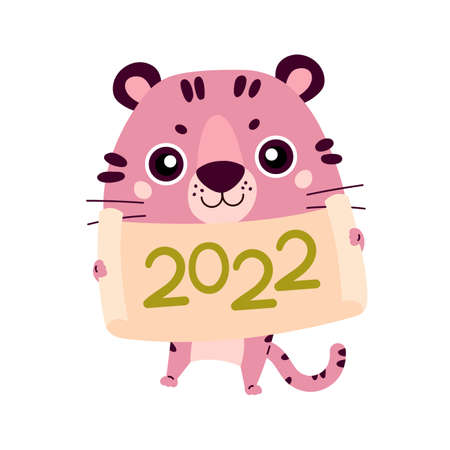 Happy Chinese New Year greeting card 2022. Funny animal symbol in the Chinese zodiac. New Year character design concept. Cute pink tiger with a piece of paper. Cartoon vector illustration.