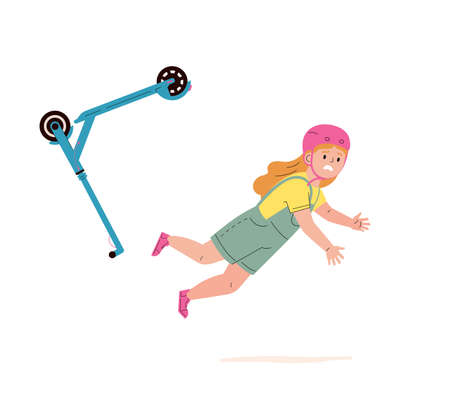Child falling down from kick scooter. Little girl in a helmet falls to the ground after scooter accident. Health risk. Vector cartoon flat illustration Иллюстрация