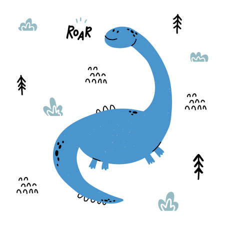 Hand drawn dinosaur. Diplodocus in cartoon scandinavian style. Cute baby animal. Dino with plants and doodles. Vector flat style children illustration.
