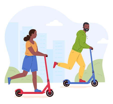 Man and woman riding electric walk scooters. Couple driving e-scooters together. Alternative modern eco urban transport, healthy lifestyle. Flat vector illustration isolated on white background. Иллюстрация