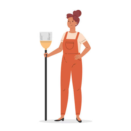 Young girl dressed in overalls with a broom. Housekeeping activity. Flat vector cartoon illustration isolated on white background