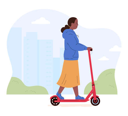 Active young woman riding electric walk scooter. Female character driving eco urban transport in the city. Active lifestyle concept. Colored flat vector illustration isolated on white background. Иллюстрация