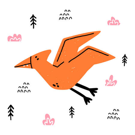 Hand drawn dinosaur. Pterodactyl in cartoon scandinavian style. Cute baby animal. Flying dino with plants and doodles. Vector flat style children illustration.