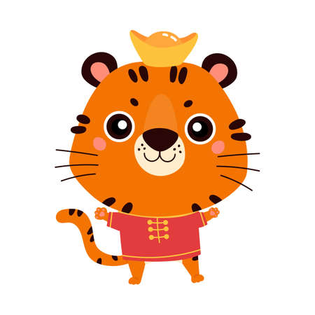 Happy Chinese New Year 2022. Chinese zodiac tiger. Cute animal in traditional asian costume. Symbol of the year. Character design concept. Vector illustration in cartoon style.