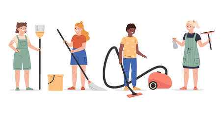 Cute children doing housework set. Boy and girls mopping and vacuuming floor. Children with a broom, mop, vacuum cleaner and wiper. Flat vector cartoon illustration isolated on white background