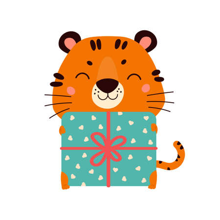 Cute cartoon tiger with gift. Design for greeting cards, stickers, banners, prints. Happy Chinese New Year 2022. Vector colorfull illustration