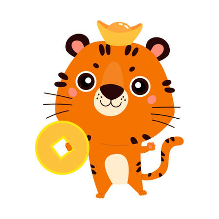 Happy Chinese New Year 2022. Chinese zodiac tiger. Cute animal with gold coin. Symbol of the year. Character design concept. Vector illustration in cartoon style.