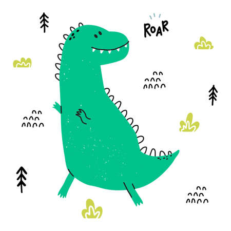 Hand drawn dinosaur. T Rex in cartoon scandinavian style. Cute baby animal. Dino with plants and doodles. Vector flat style children illustration.