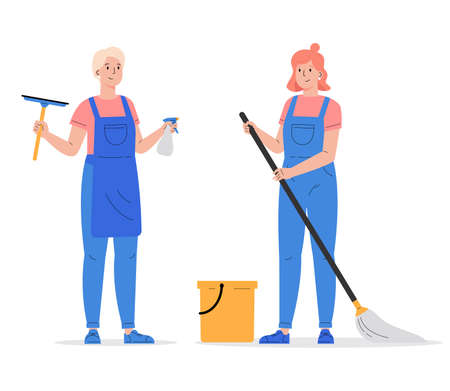 Cleaning company staff with the equipment. Cleaning service, women with window cleaner tool and mop with bucket in uniform. Vector illustration in a flat style