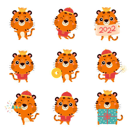 Set of cute cartoon tigers in traditional chinese costume. New year tigers with various festive attributes. Chinese new year 2022 symbol. Character design concept. Cartoon vector illustration.