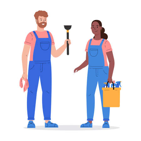 Cleaning company staff with the equipment. Cleaning service, man and woman with a plunger and a bucket of detergents in uniform. Vector illustration in a flat style Иллюстрация