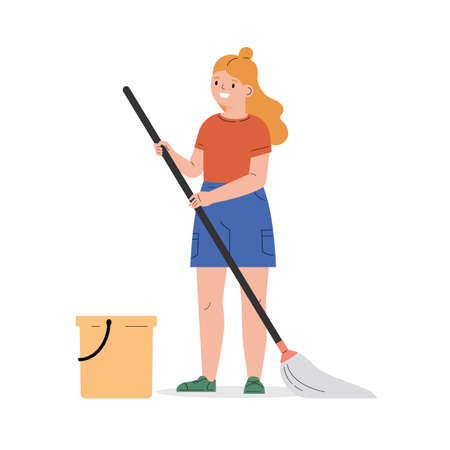 Teenager girl with a mop and a bucket. The girl helps with the household. The child washes the floor. Flat vector cartoon illustration isolated on white background Иллюстрация