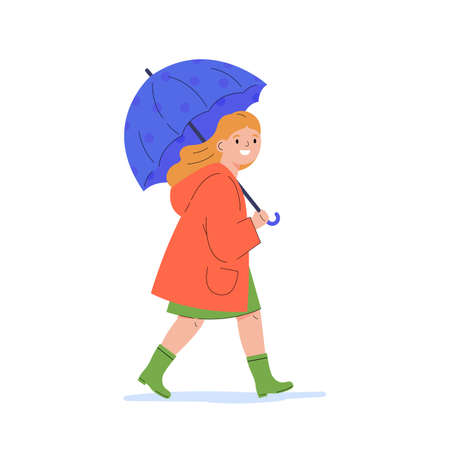 The girl walks in the rain. Happy child in a raincoat under umbrella during rain. Flat vector cartoon illustration isolated on white background.