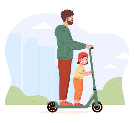 Young active man rides a scooter with a child. Father spends time with daughter. Alternative modern eco urban transport, healthy lifestyle. Flat vector illustration isolated on white background