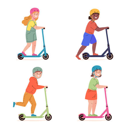 Happy children in helmets ride electric walk scooters. Modern child characters driving urban transport. Kids learn to ride scooter. Friendship. Flat vector illustration isolated on white background.