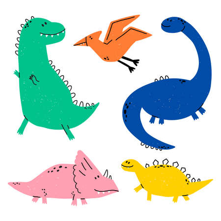 Hand drawn dinosaurs. Dino vector set in cartoon scandinavian style. T Rex, Diplodocus, Pterodactyl, Stegosaurus, Triceratops. Cute baby animals. Vector flat style illustration.
