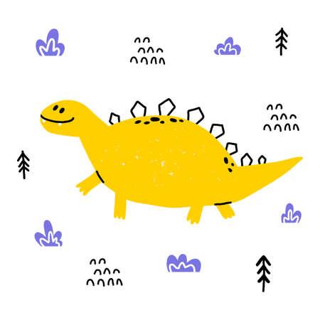 Hand drawn dinosaur. Stegosaurus in cartoon scandinavian style. Cute baby animal. Dino with plants and doodles. Vector flat style children illustration. Иллюстрация