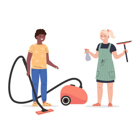 Concept of a happy friendship, housekeeping, child. Boy and girl vacuum and wash windows, clean up. Flat vector cartoon illustration isolated on white background