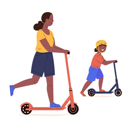 Young active woman rides a scooter with a child. Mom spends time with daughter. Alternative modern eco urban transport, healthy lifestyle. Flat vector illustration isolated on white background Иллюстрация