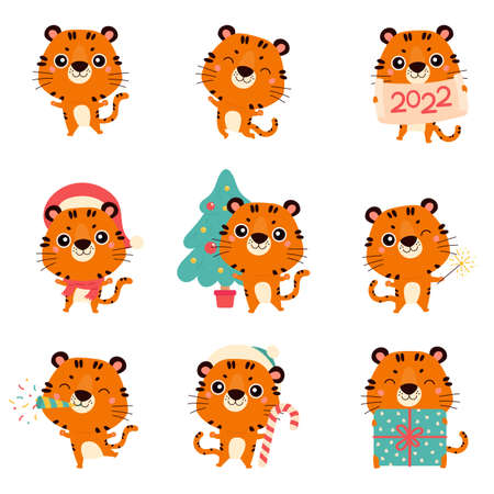 Set of cute cartoon tigers. New year tigers with various festive attributes. Chinese new year 2022 symbol. Character design concept. Cartoon vector illustration.