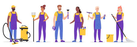 Set of cleaning company staff to work with the equipment. Cleaning service, people vacuuming and washing in uniform. Woman with buckets and mop,broom,wiper,plunger. Vector illustration in a flat style