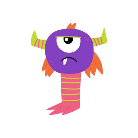 Cartoon furry monster isolated on white background. Cute monster character. Design for print, Halloween party decoration, illustration, emblem or sticker. Vector illustration in cartoon style.