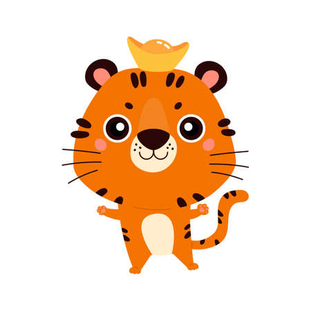 Happy Chinese New Year 2022. Chinese zodiac tiger. Cute animal. Symbol of the year. Character design concept. Vector illustration in cartoon style.