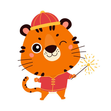 Happy Chinese New Year 2022. Chinese zodiac tiger. Cute tiger in traditional asian costume. Symbol of the year. Character design concept. Vector illustration in cartoon style.