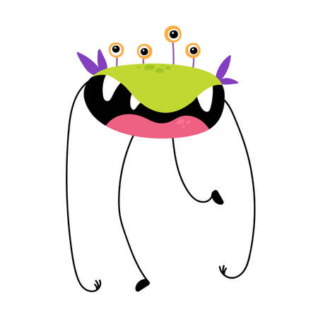 Cartoon funny monster isolated on white background. Cute monster character. Design for print, Halloween party decoration, illustration,  emblem or sticker. Vector illustration in cartoon style.