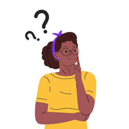Thinking woman character. Question. Girl solves a problem. Woman with question mark. Cartoon vector illustration