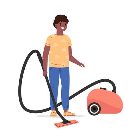Cute boy holding electric vacuum cleaner pipe in his hands ready for house cleaning. Kid helps cleaning floor at home. Housekeeping activity. Cartoon vector flat style illustration.