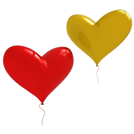 two heart shaped balloons isolated on white background Stock Photo - 11764006