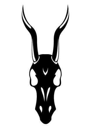 black deaths head with horns horse white background vector Vector