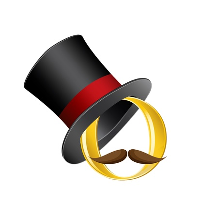 golden circle in cylinder hat with mustache Ilustrace