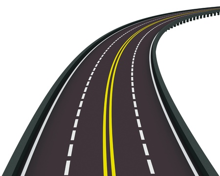 highway turned right isolated on white background photo