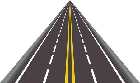 고속도로: 수평선 사라지고 직선 아스팔트 도로