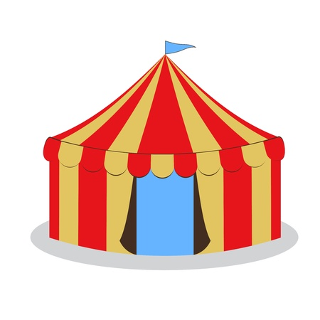 drawing circus tent with yellow and red stripes