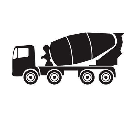 concrete mixer truck: concrete mixer black silhouette on white vector