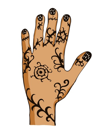 finger paint: Hand painted with ornament, drawing tattoo