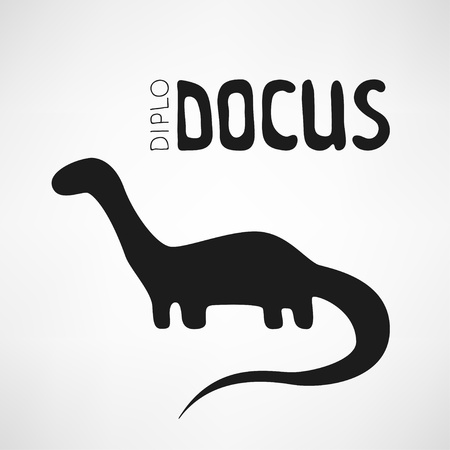 logo in the form of a silhouette Diplodocus Vector