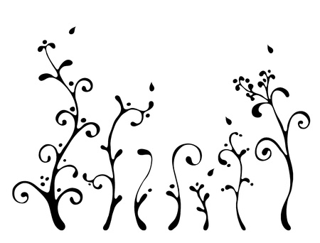black floral elements in cartoon style on white, vector Stock Vector - 13529436