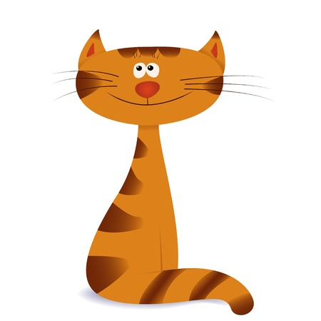 Seated painted orange cat with stripes in cartoon style isolated on white background